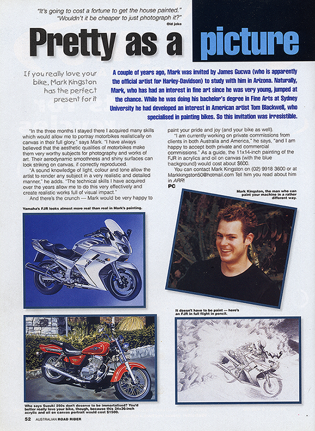 Australian road rider magazine article reduced 8th March 2014